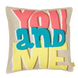 """You and Me"" Cushion in pure cotton and filling"