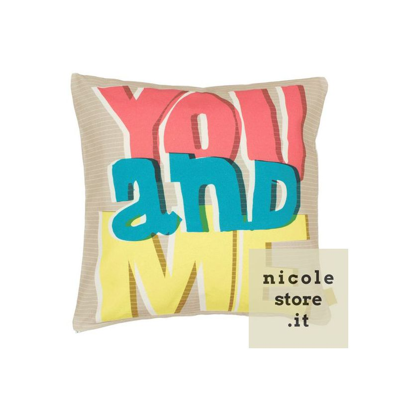 "Cuscino ""You and Me"" in puro cotone con imbottitura."