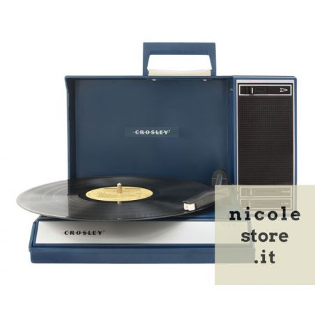 Giradischi USB Stereo Portatile Spinnerette Blue con speaker integrati by Crosley
