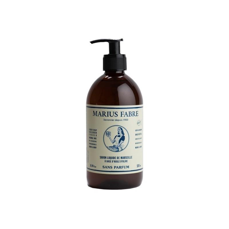 Liquid Marseille soap Sans Parfum (500 mL & dispenser) by Marius Fabre