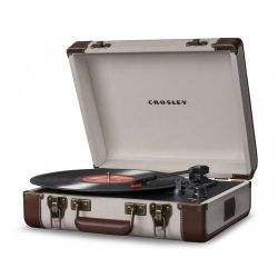 Crosley Executive Linnen & Brown USB Stereo Portable Turntable by Crosley