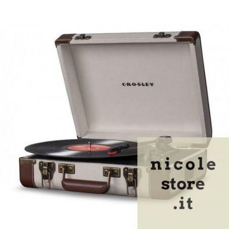 Crosley Executive Linnen & Brown USB Stereo Portable Turntable by Crosley