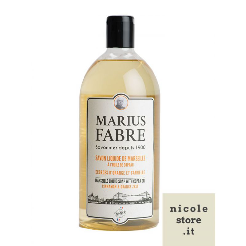 Marseille liquid soap Cinnamon & Orange Zest flavoured (1L) 1900 by Marius Fabre