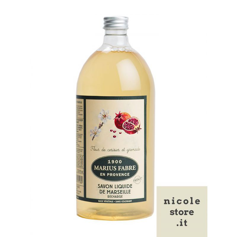 Marseille Liquid Soap Cherry Blossom & Pomegranate flavored (1L) Herbier by Marius Fabre