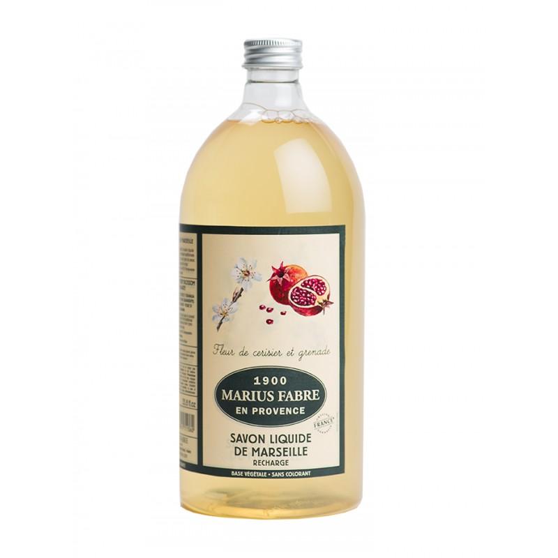 Sapone Liquido di Marsiglia aromatizzato al Fiore di Ciliegio e Melograno (1L) Herbier by Marius Fabre