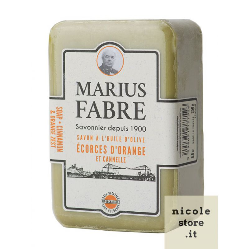 Marseille Orange Zest & Cinnamon perfumed pure olive oil soap (250gr) 1900 by Marius Fabre