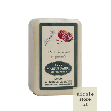 Marseille Cherry Blossom & Pomegranate perfumed pure Karité Butter oil soap (250gr) 1900 by Marius Fabre