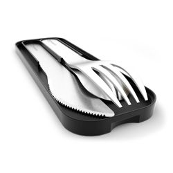 MB Pocket black Onyx stainless steel portable cutlery in Monbento