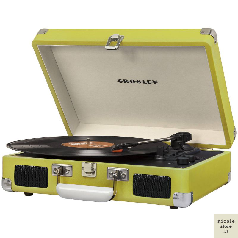Crosley Cruiser Deluxe Green Stereo Bluetooth Portable Turntable by Crosley
