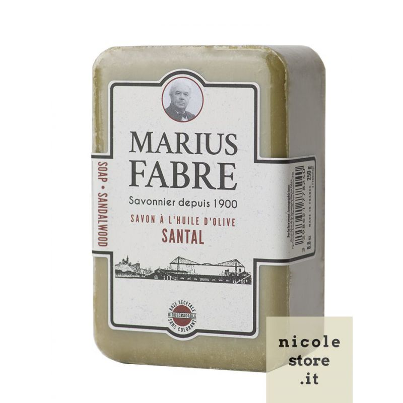 Marseille Sandalwood perfumed pure olive oil soap (250gr) 1900 by Marius Fabre
