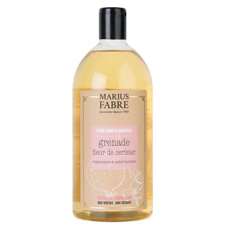 Marseille liquid soap Cherry blossom and Pomegranate  flavoured (1L) Le Bien-être by Marius Fabre