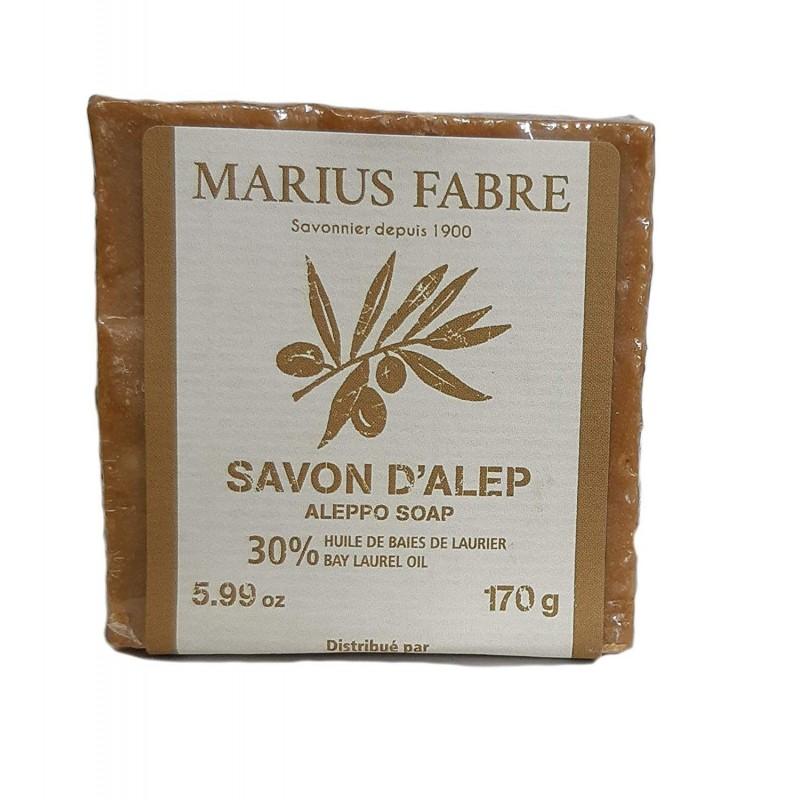Sapone d'Aleppo al 30% d'Olio di Bacche d'Alloro in panetto da 170gr by Marius Fabre
