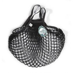 Organic Cotton Black net / mesh Hand Shopping Bag by Filt