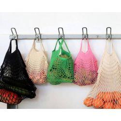 Organic Cotton Kaki net / mesh Hand Shopping Bag by Filt