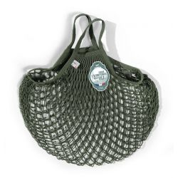 Organic Cotton Kaki net / mesh Hand Shopping Bag by Filt