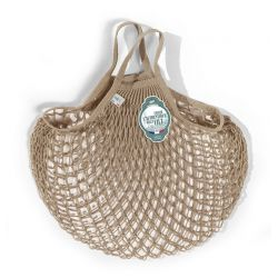 Organic Cotton Beige net / mesh Hand Shopping Bag by Filt