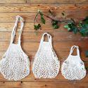 Organic Cotton Beige net / mesh Hand Shopping Bag by Filt
