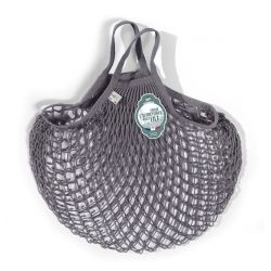 Organic Cotton Lead Grey net / mesh Hand Shopping Bag by Filt