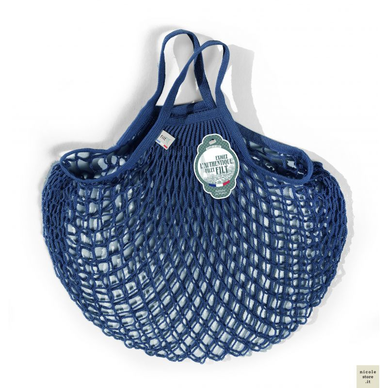 Organic Cotton Blue net / mesh Hand Shopping Bag by Filt