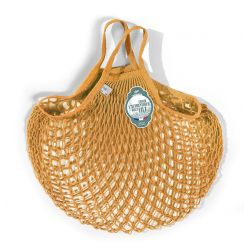 Organic Cotton Golden Yellow net / mesh Hand Shopping Bag by Filt
