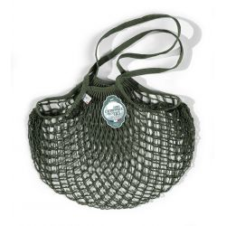 Organic Cotton Kaki net / mesh Shoulder Shopping Bag by Filt