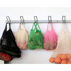 Organic Cotton Kaki net / mesh Shoulder Shopping Bag by Filt