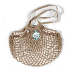 Organic Cotton Beige net / mesh Shoulder Shopping Bag by Filt