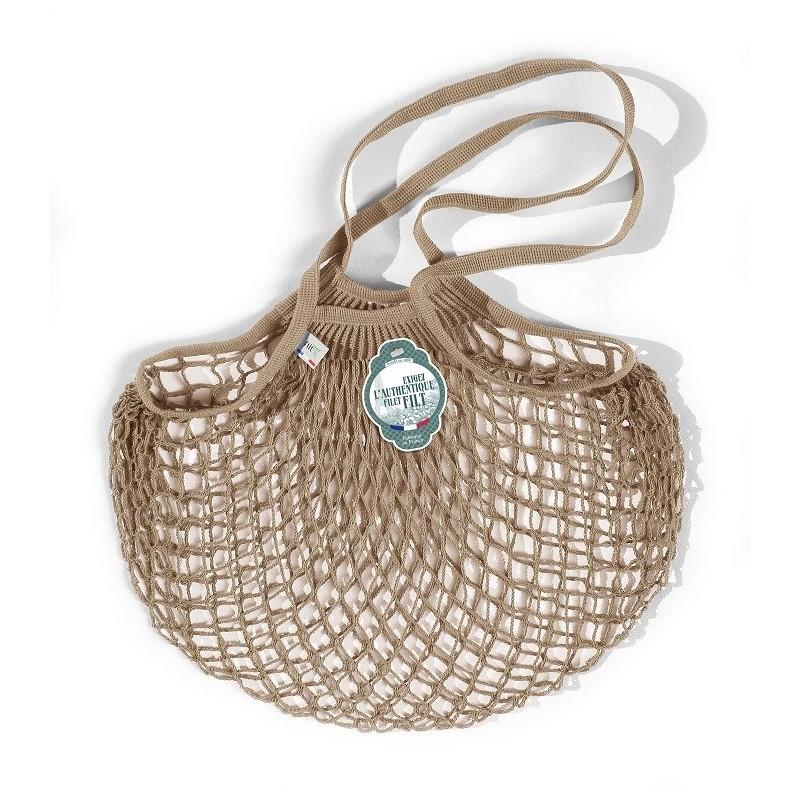 Organic Cotton Beige net / mesh Shoulder Shopping Bag by Filt