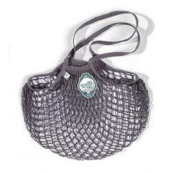 Organic Cotton Lead Grey net / mesh Shoulder Shopping Bag by Filt