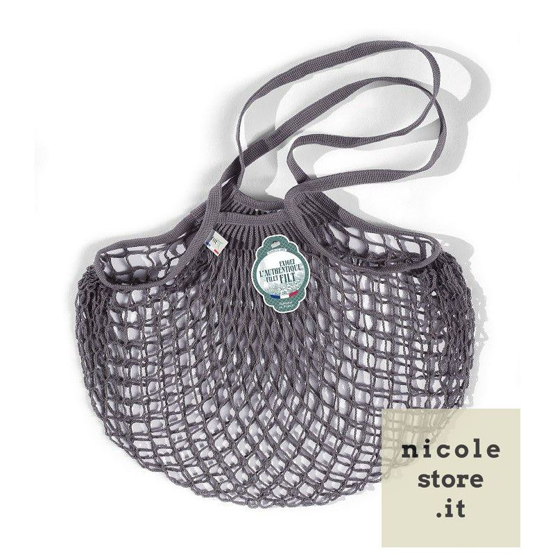 Organic Cotton Lead Grey net / mesh Shoulder Shopping Bag by Filt