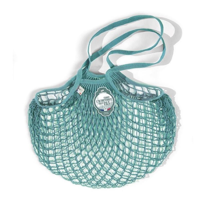 Organic Cotton Aquablue net / mesh Shoulder Shopping Bag by Filt