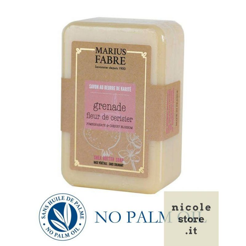 Cherry Blossom & Pomegranate perfumed pure Karité Butter oil soap (250gr) Le Bien-être by Marius Fabre