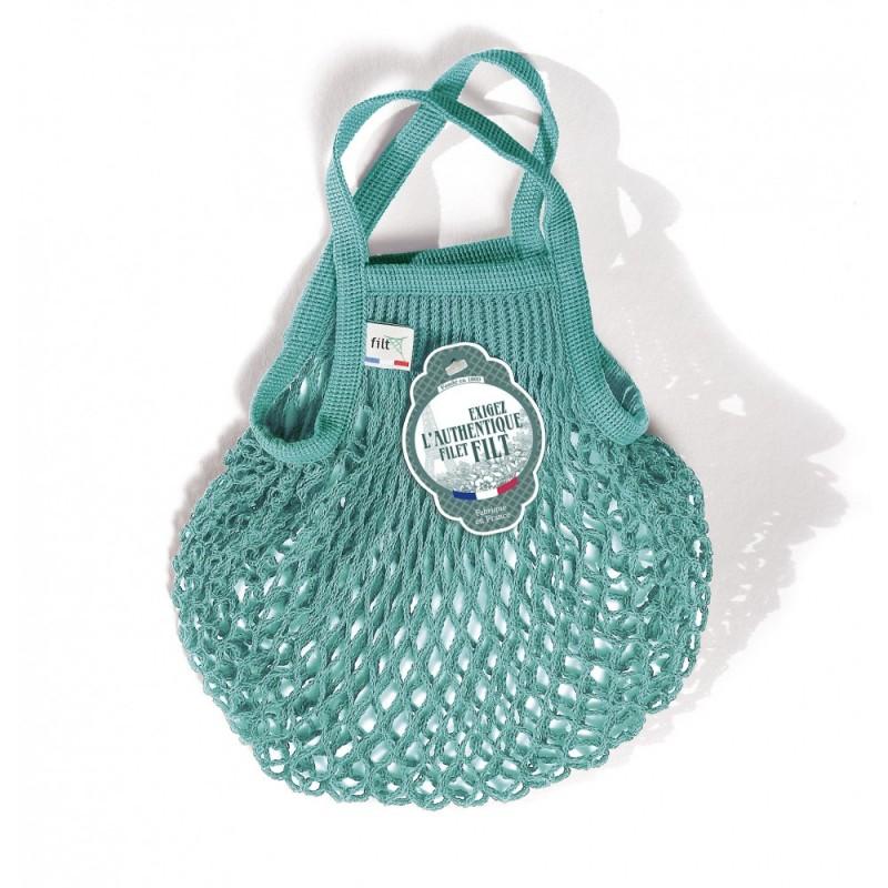 Organic Cotton Aquablue net / mesh  Mini Bag by Filt