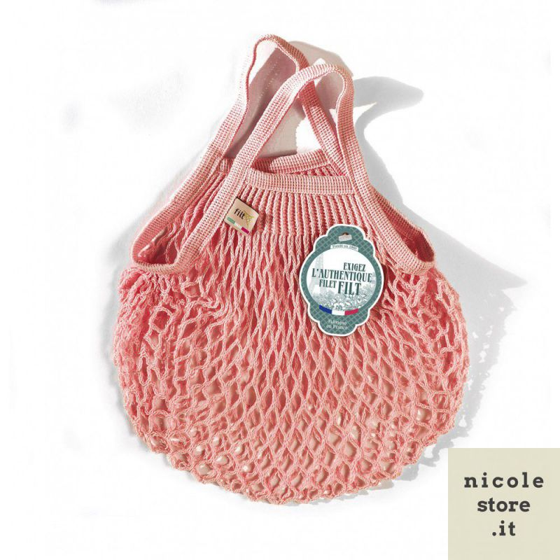 Borsa a rete mini Rosa in cotone biologico by Filt