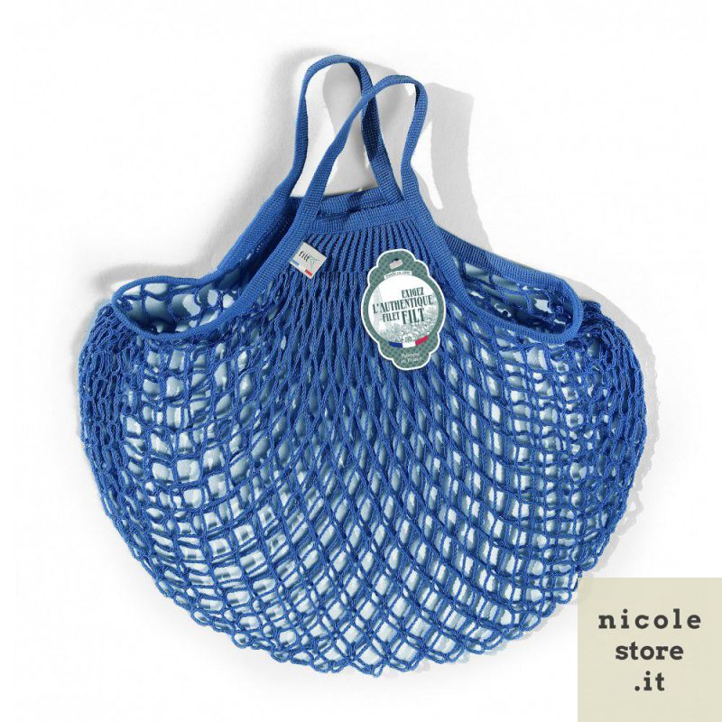Organic Cotton Bleu Matisse net / mesh Hand Shopping Bag by Filt