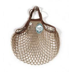 Organic Cotton Mastic Sépia net / mesh Hand Shopping Bag by Filt