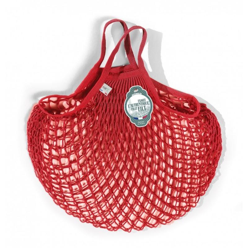 Organic Cotton Rouge anémone net / mesh Hand Shopping Bag by Filt