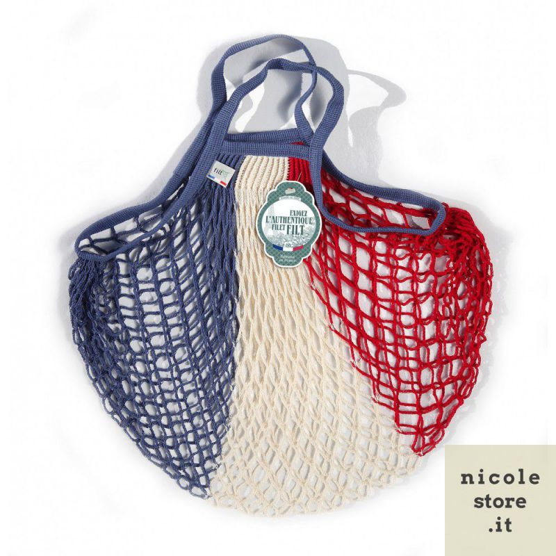 Organic Cotton Bleu Blanc Rouge net / mesh Hand Shopping Bag by Filt