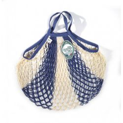 Organic Cotton Bleu Jean Ecru net / mesh Hand Shopping Bag by Filt