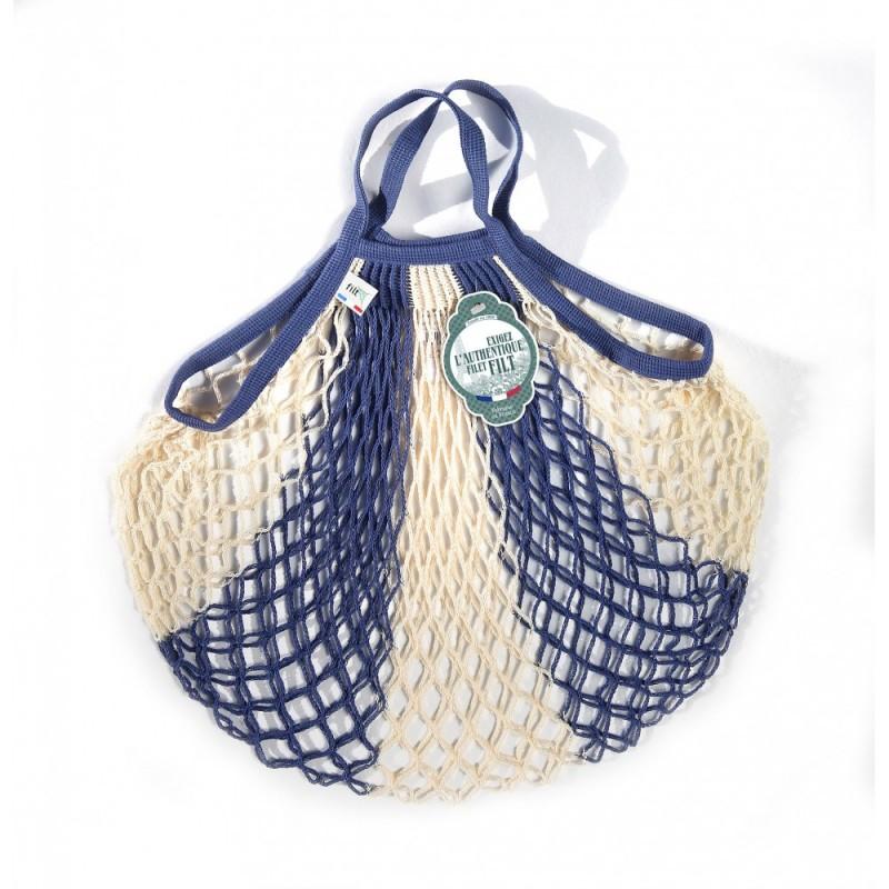Organic Cotton Bleu Jean Ecru net / mesh Hand Shopping Bag by Filt