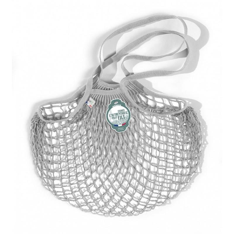 Organic Cotton rain grey gris pluie net / mesh Shoulder Shopping Bag by Filt