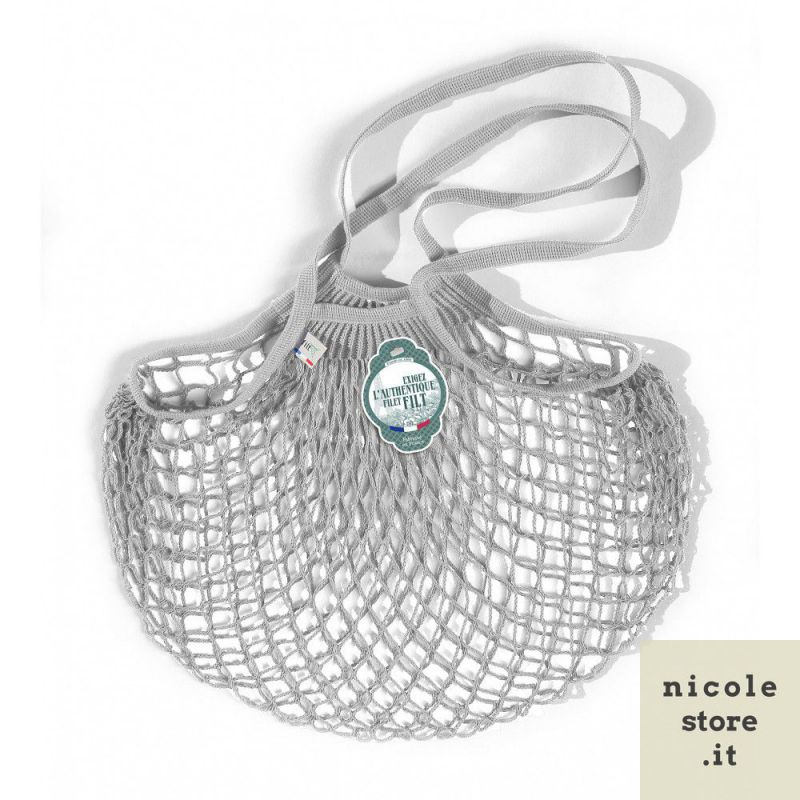 Organic Cotton Rain Grey (Gris Pluie) net / mesh Shoulder Shopping Bag by Filt