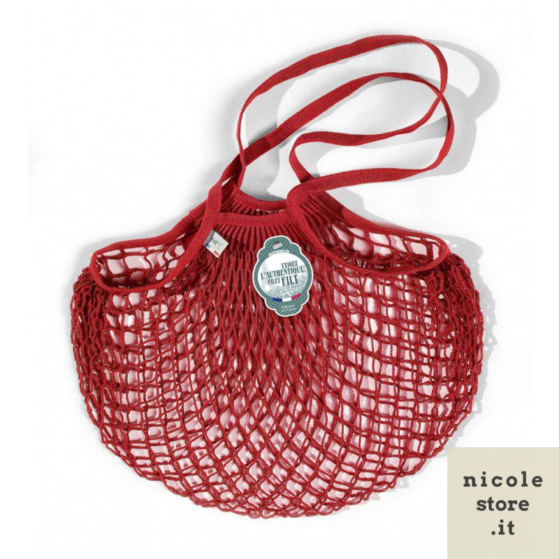 Organic Cotton Red net / mesh Shoulder Shopping Bag by Filt