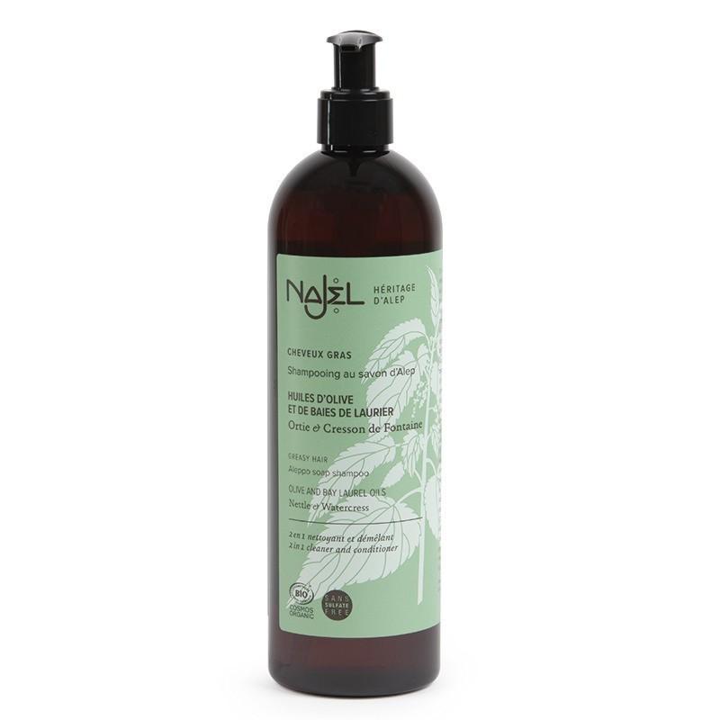 Shampoo 2 in 1 al sapone di Aleppo all'ortica e crescione inglese - capelli grassi  - Najel