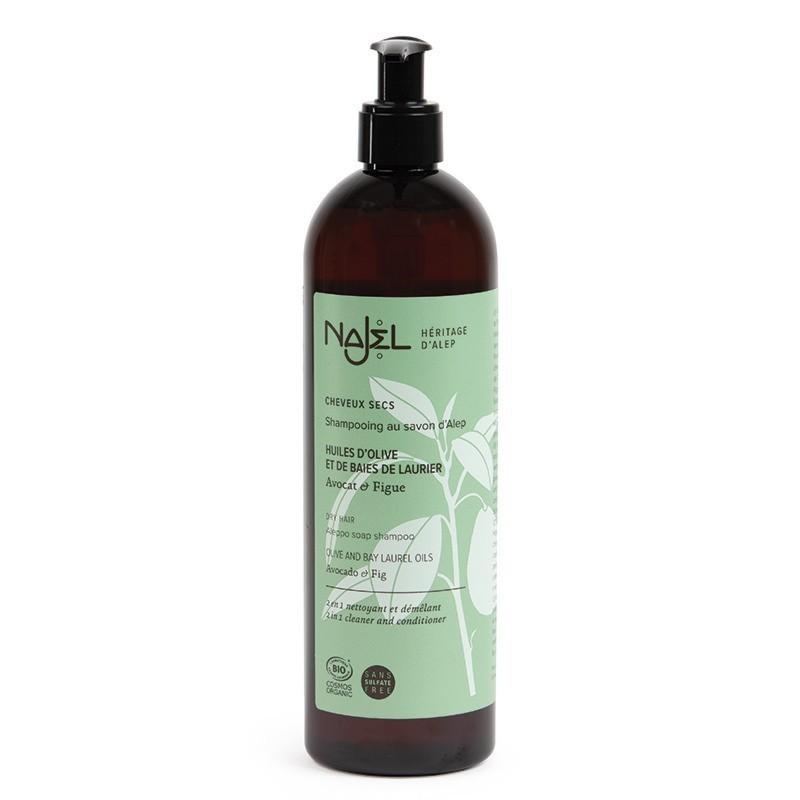 Shampoo al sapone di Aleppo con fico e avocado 500 ml per capelli secchi Najel
