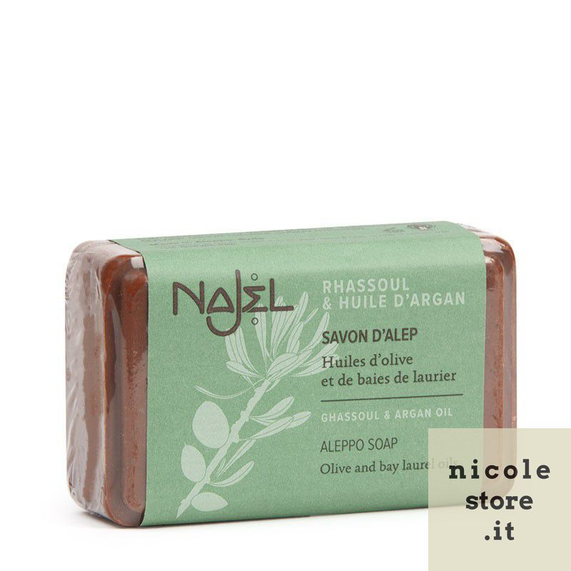 Aleppo soap with rhassoul and Argan oil 100 g - Savon d'Alep au rhassoul et à l'huile d'argan - Najel