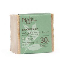 Sapone di Aleppo al 30% di Olio di Bacche d'Alloro 185 gr- Savon d'Alep 30% HBL - Najel