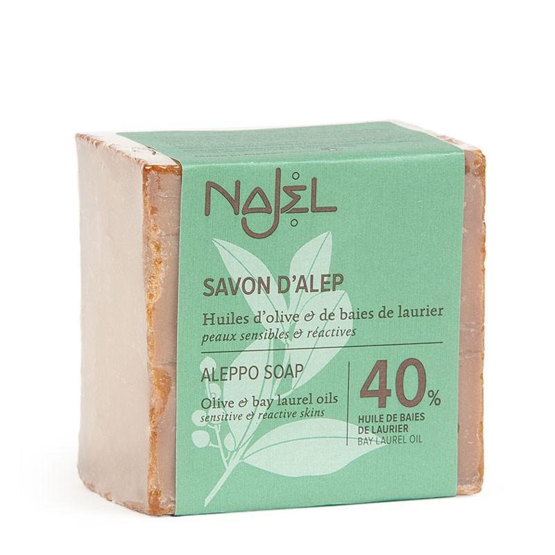 Sapone di Aleppo al 40% di Olio di Bacche d'Alloro 185 gr- Savon d'Alep 40% HBL - Najel