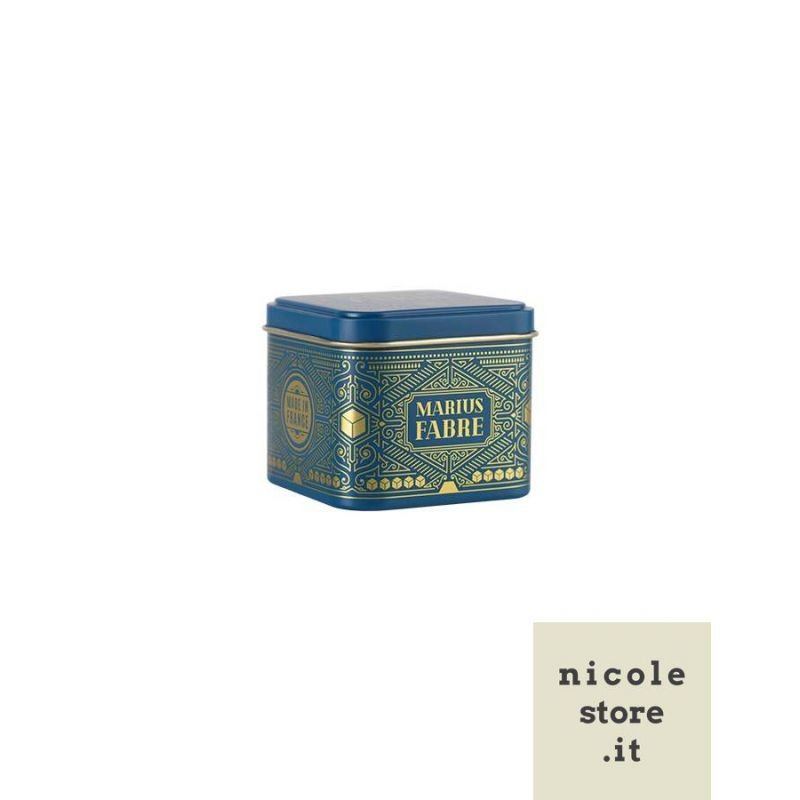 "Scatola regalo piccola in latta Art déco - Boîte métal cube or ""Noël"" - Marius Fabre"