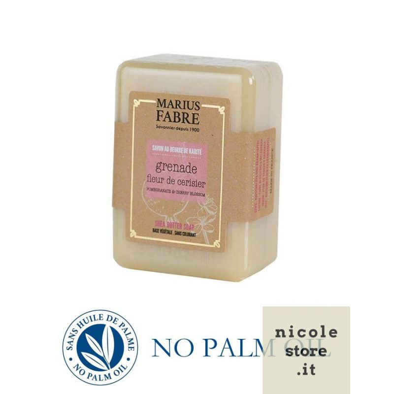 Pure Marseille soap with pomegranate and cherry 150 g soap bar with shea butter Le Bien-être by Marius Fabre